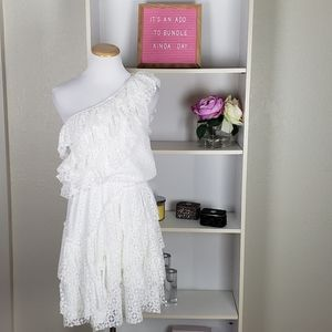 Ivory One Shoulder Ruffle Tiered Dress SZ XS
